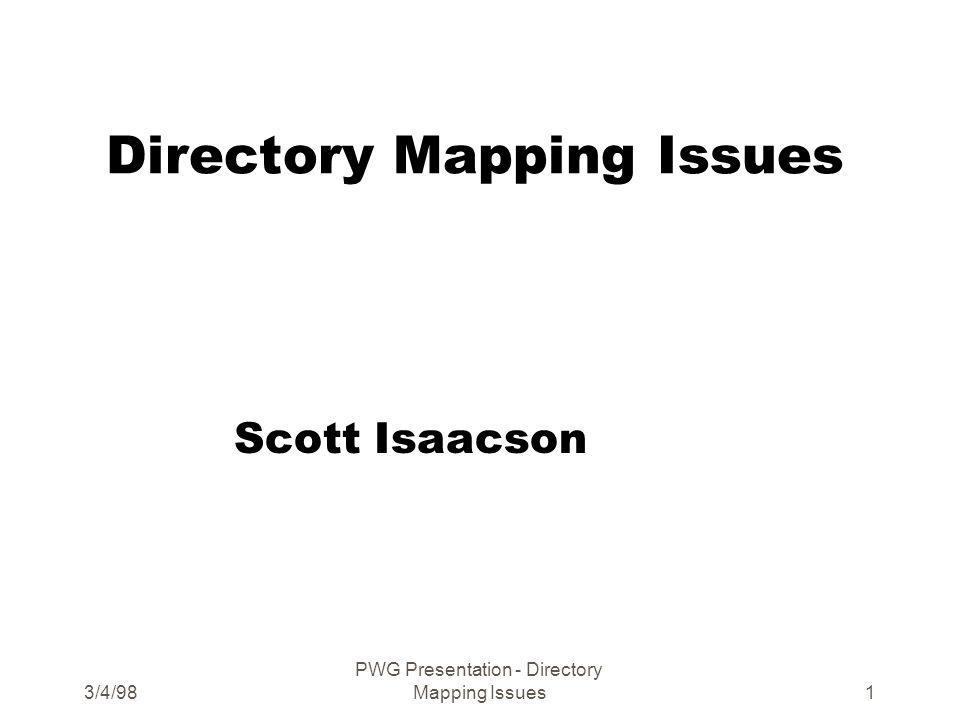 3/4/98 PWG Presentation - Directory Mapping Issues1 Directory Mapping Issues Scott Isaacson