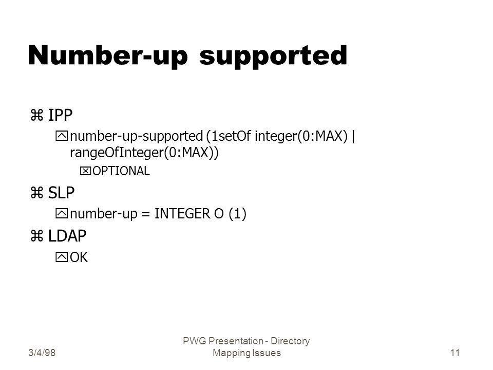 3/4/98 PWG Presentation - Directory Mapping Issues11 Number-up supported zIPP ynumber-up-supported (1setOf integer(0:MAX) | rangeOfInteger(0:MAX)) xOPTIONAL zSLP ynumber-up = INTEGER O (1) zLDAP yOK