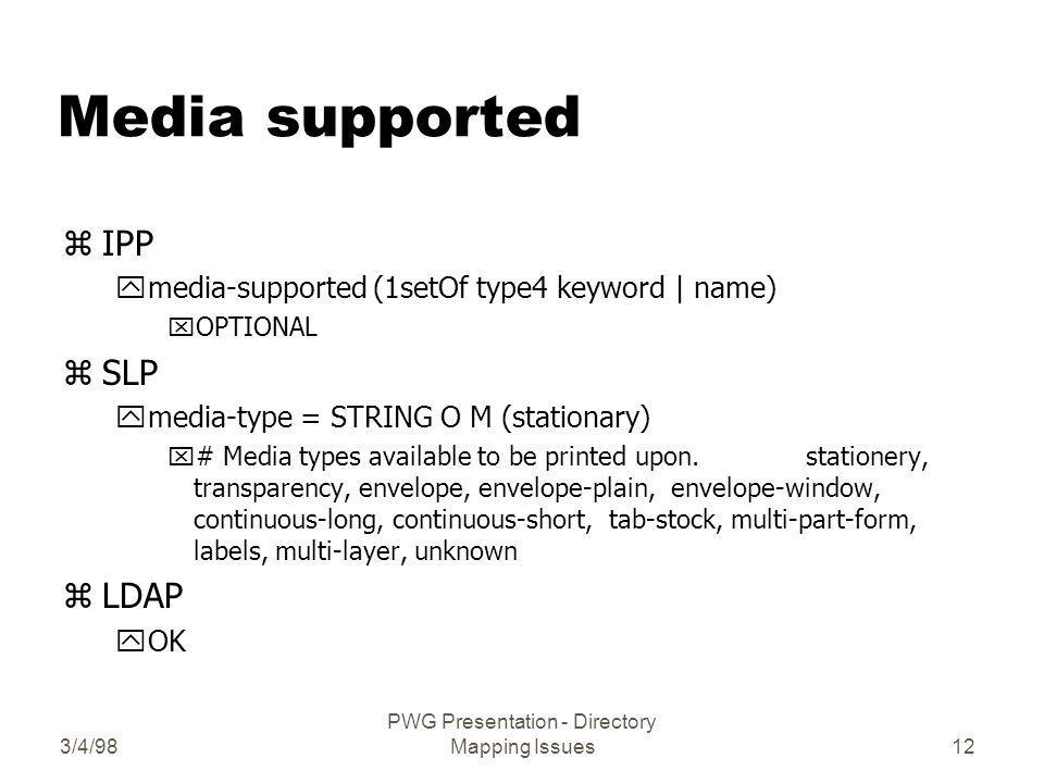 3/4/98 PWG Presentation - Directory Mapping Issues12 Media supported zIPP ymedia-supported (1setOf type4 keyword | name) xOPTIONAL zSLP ymedia-type = STRING O M (stationary) x# Media types available to be printed upon.
