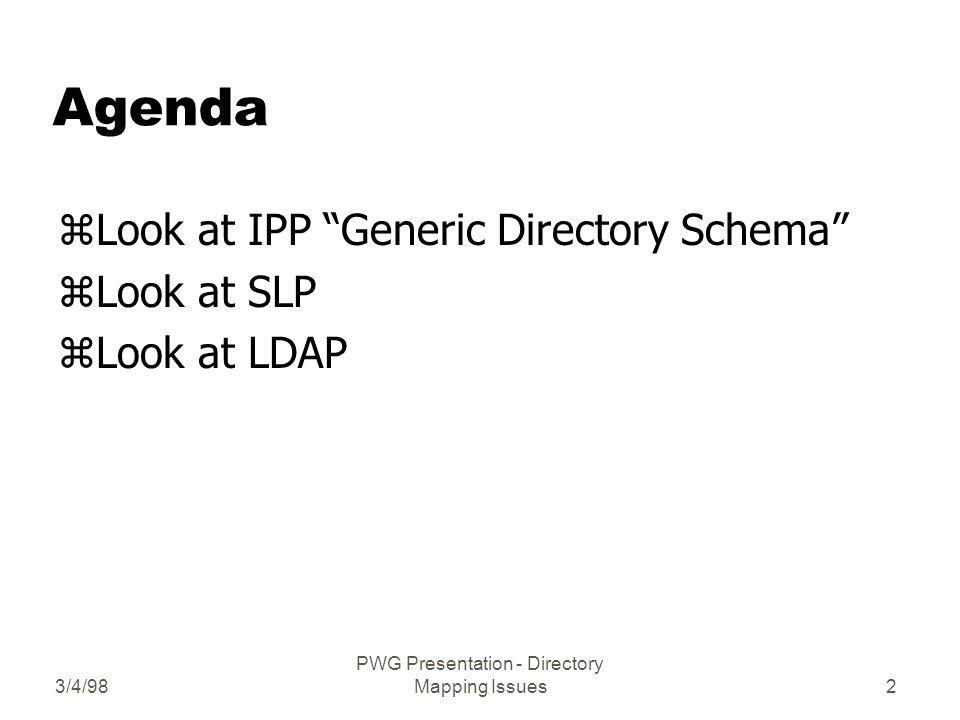 3/4/98 PWG Presentation - Directory Mapping Issues2 Agenda zLook at IPP Generic Directory Schema zLook at SLP zLook at LDAP