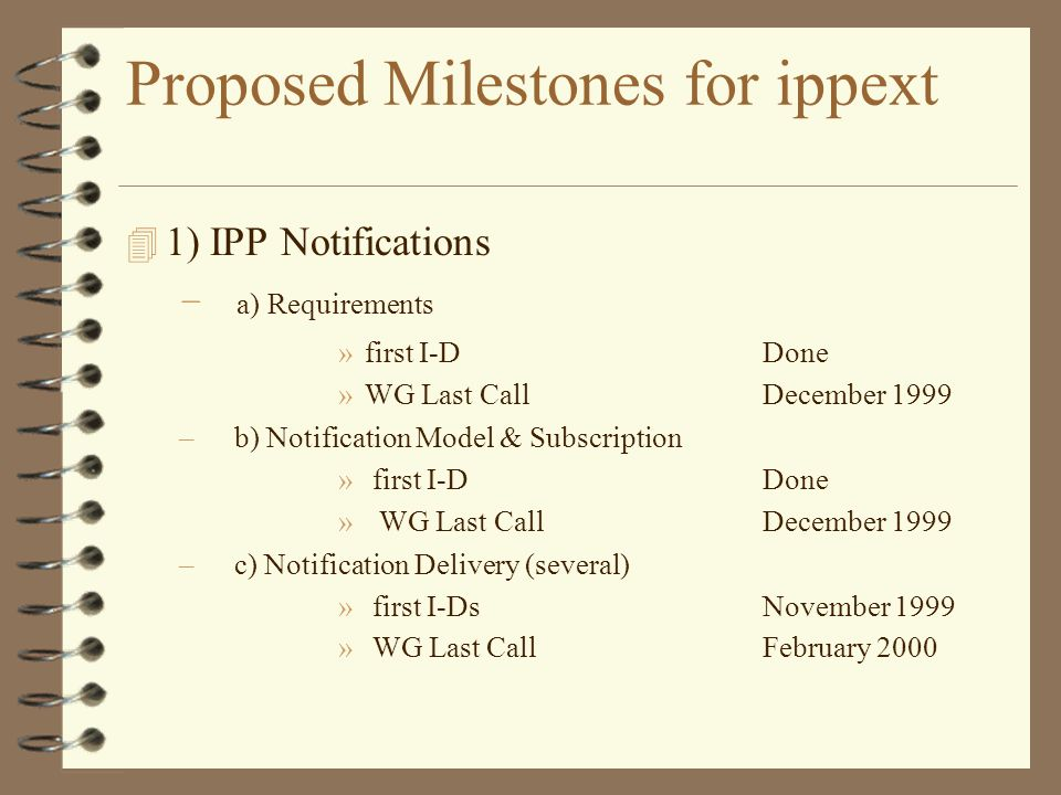 Proposed Milestones for ippext 1) IPP Notifications – a) Requirements »first I-D Done »WG Last Call December 1999 – b) Notification Model & Subscripti
