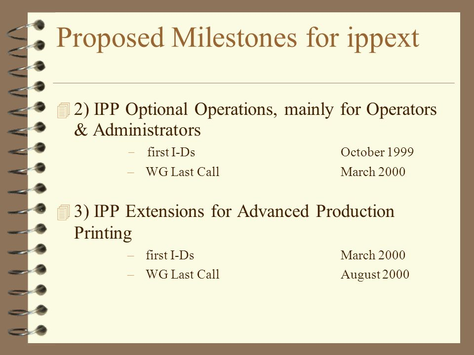 Proposed Milestones for ippext 2) IPP Optional Operations, mainly for Operators & Administrators – first I-DsOctober 1999 – WG Last CallMarch 2000 3) IPP Extensions for Advanced Production Printing – first I-Ds March 2000 – WG Last Call August 2000