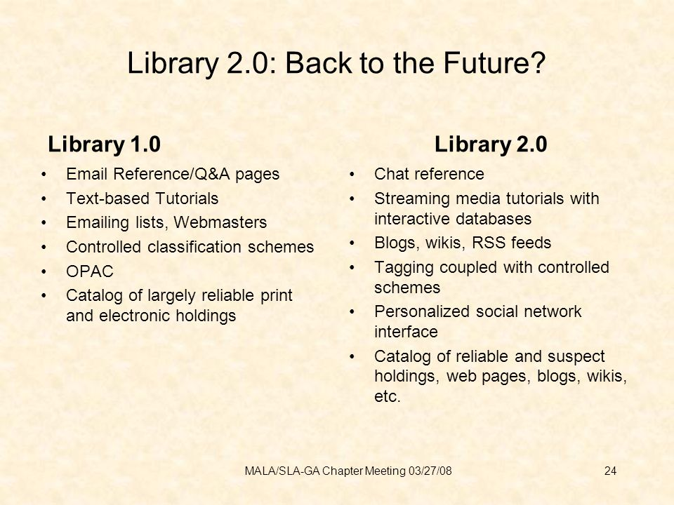 Library 2.0: Back to the Future.