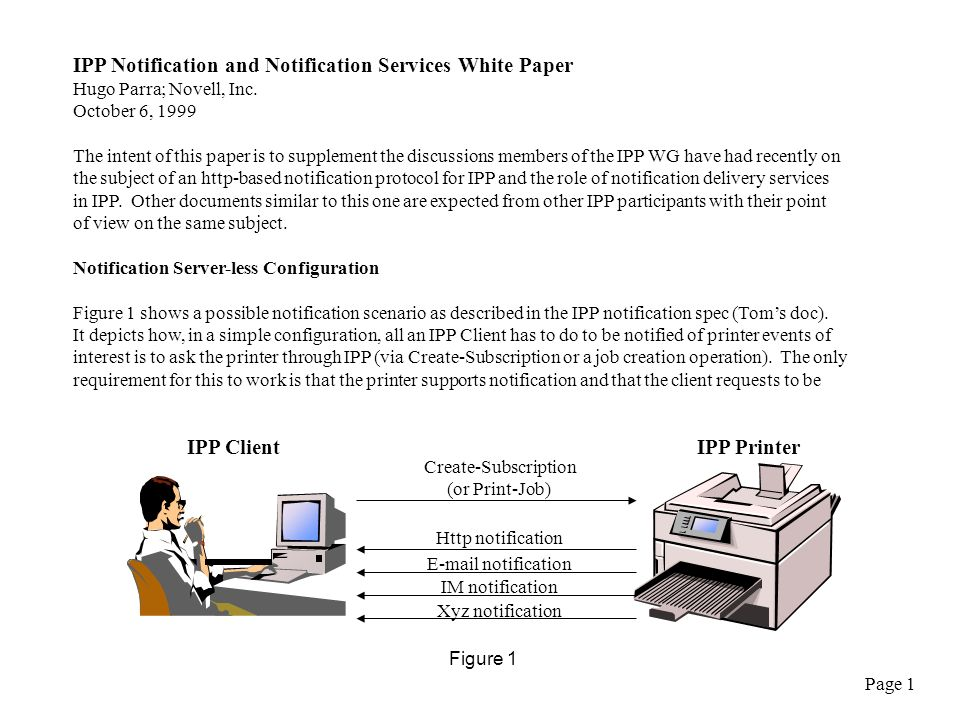 IPP Notification and Notification Services White Paper Hugo Parra; Novell, Inc.