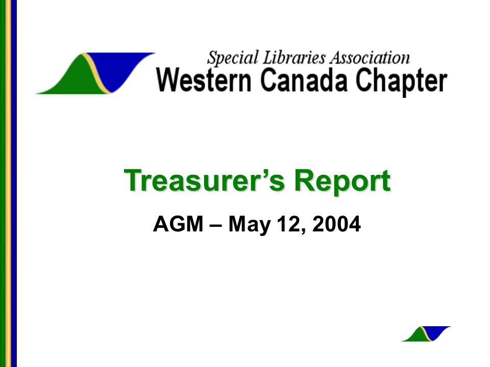 Treasurers Report AGM – May 12, 2004
