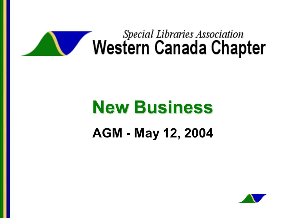 New Business AGM - May 12, 2004