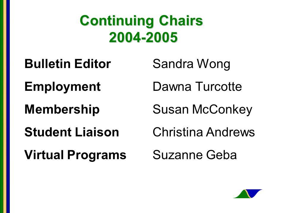 Continuing Chairs 2004-2005 Bulletin EditorSandra Wong Employment Dawna Turcotte MembershipSusan McConkey Student LiaisonChristina Andrews Virtual Pro