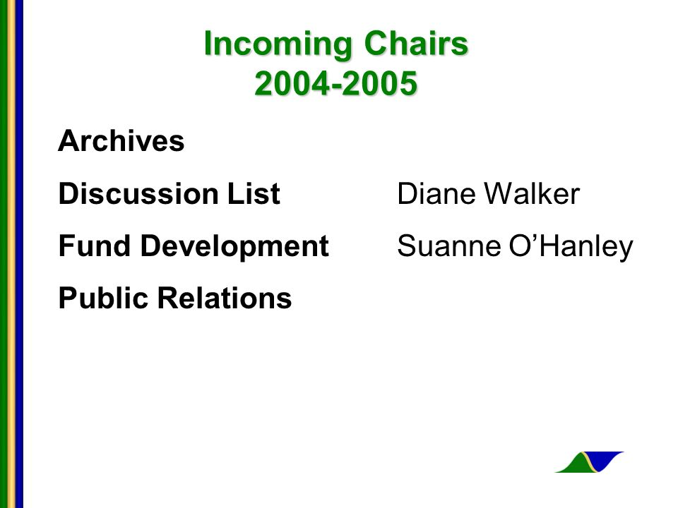 Incoming Chairs 2004-2005 Archives Discussion ListDiane Walker Fund Development Suanne OHanley Public Relations