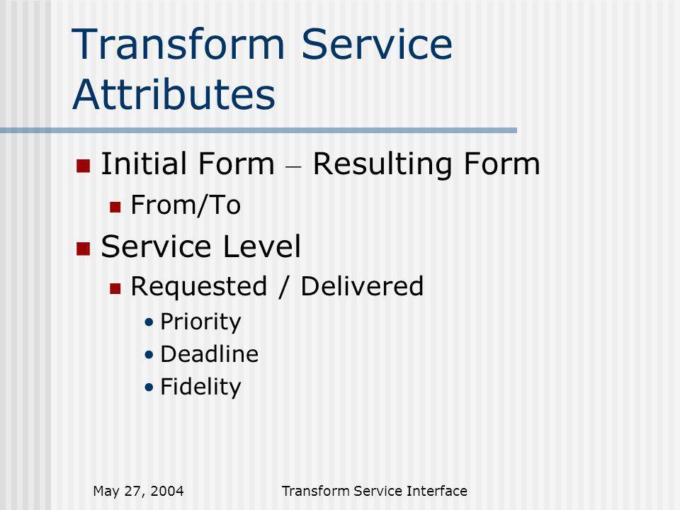 May 27, 2004Transform Service Interface Transform Sequence Client Transform Service Transform Request Transform Create Transform (Initial / Resulting) Process Transform (Read URI / Write URI) Read Input from Client provided URL Write Output to Client provided URL Read Result from Client provided URL