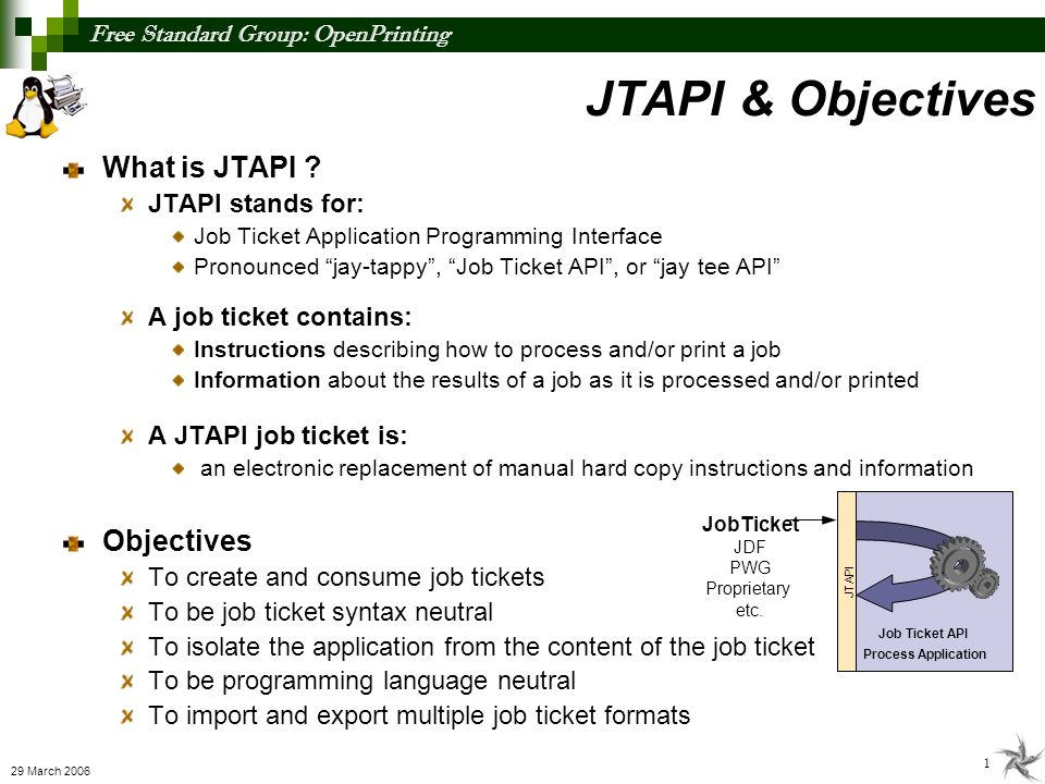 Free Standard Group: OpenPrinting 2 29 March 2006 Existing Open Job Ticket Standards CIP4 JDF (Job Definition Format) Job Ticket Defined by CIP4, a world wide standards body with almost 300 members Extensible XML-based job ticket standard JDF Specification versions 1.0 released April 2001 1.1 released April 2002 1.2 released May 2004 1.3 released September 2005 1.4 to be released 2007 PWG Job Ticket Defined by PWG, a world wide standards body with over 27 members Defined by PWG Semantic Model 1.0 (Jan 2004) Extensible XML-based job ticket standard Technical Review