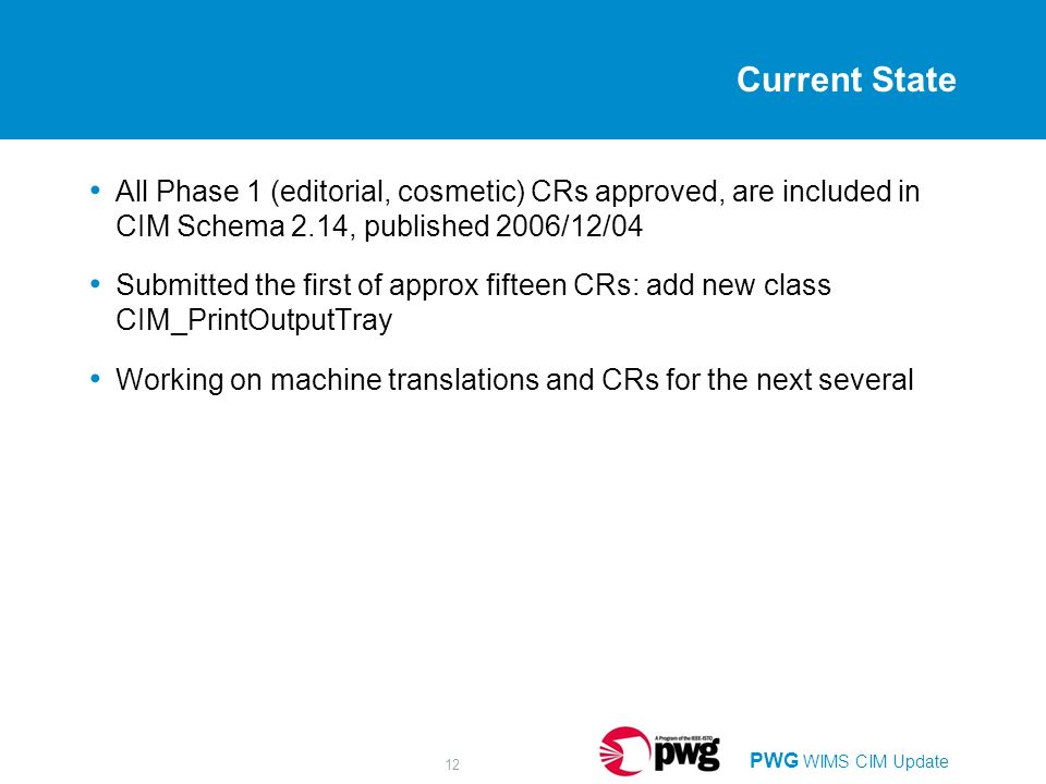 PWG WIMS CIM Update 12 Current State All Phase 1 (editorial, cosmetic) CRs approved, are included in CIM Schema 2.14, published 2006/12/04 Submitted t