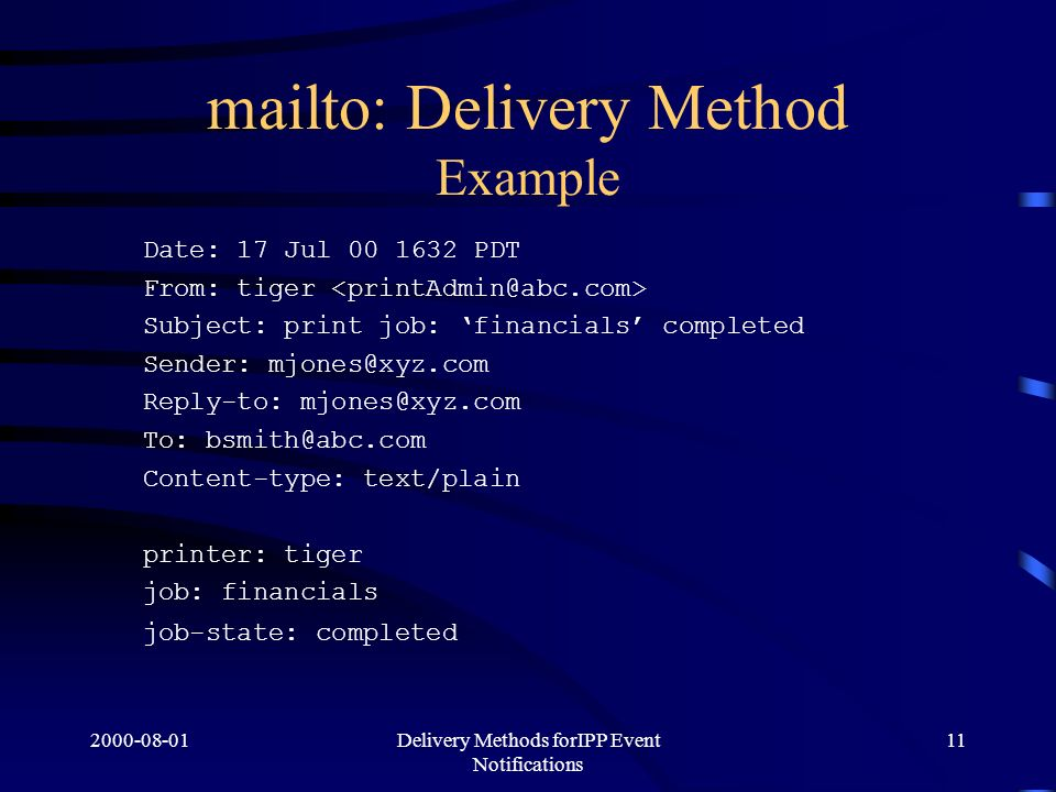 Delivery Methods forIPP Event Notifications 11 mailto: Delivery Method Example Date: 17 Jul PDT From: tiger Subject: print job: financials completed Sender: Reply-to: To: Content-type: text/plain printer: tiger job: financials job-state: completed