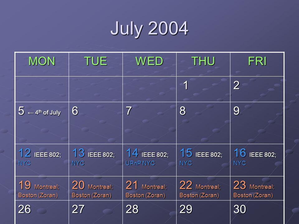 July 2004 MONTUEWEDTHUFRI 12 5 4 th of July 6789 12 IEEE 802; NYC 13 IEEE 802; NYC 14 IEEE 802; UPnP NYC 15 IEEE 802; NYC 16 IEEE 802; NYC 19 Montreal