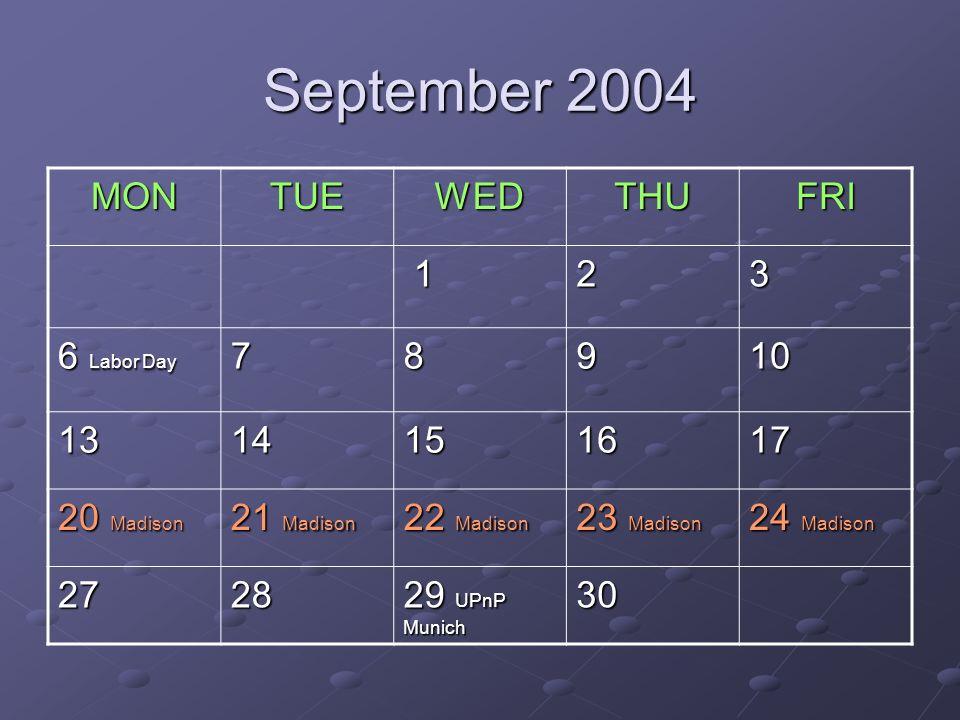 September 2004 MONTUEWEDTHUFRI 123 6 Labor Day 78910 1314151617 20 Madison 21 Madison 22 Madison 23 Madison 24 Madison 2728 29 UPnP Munich 30