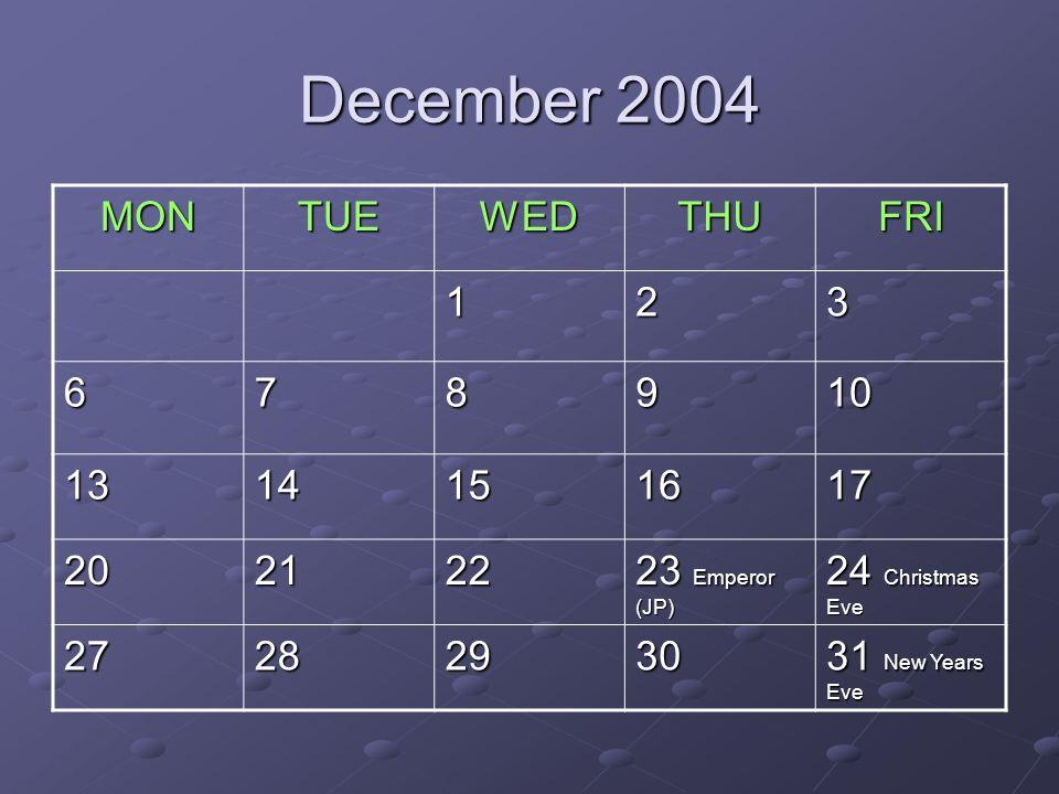 December 2004 MONTUEWEDTHUFRI 123 678910 1314151617 202122 23 Emperor (JP) 24 Christmas Eve 27282930 31 New Years Eve