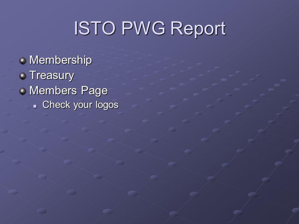 ISTO PWG Report MembershipTreasury Members Page Check your logos Check your logos