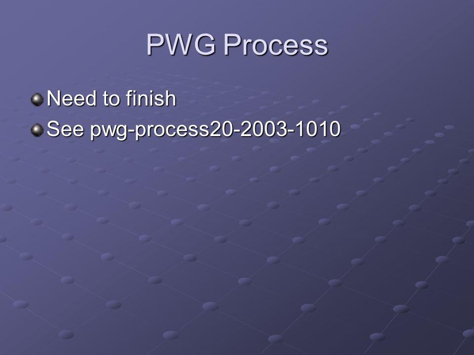 PWG Process Need to finish See pwg-process20-2003-1010