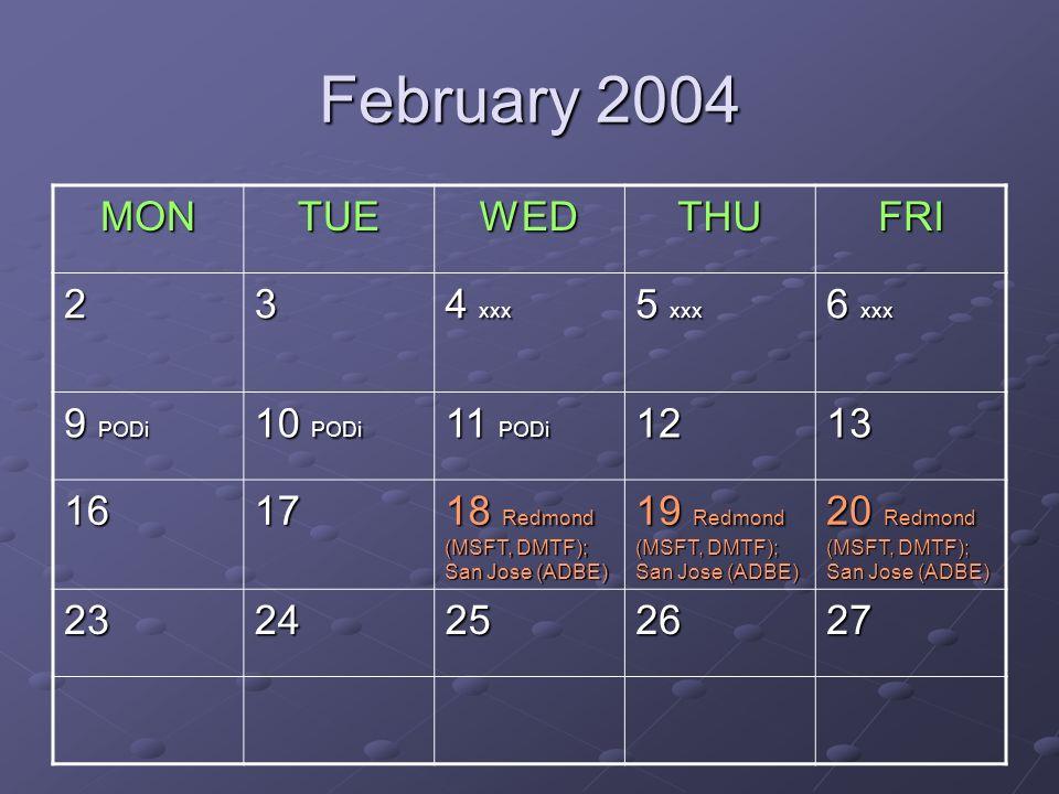 February 2004 MONTUEWEDTHUFRI 23 4 xxx 5 xxx 6 xxx 9 PODi 10 PODi 11 PODi 1213 1617 18 Redmond (MSFT, DMTF); San Jose (ADBE) 19 Redmond (MSFT, DMTF); San Jose (ADBE) 20 Redmond (MSFT, DMTF); San Jose (ADBE) 2324252627