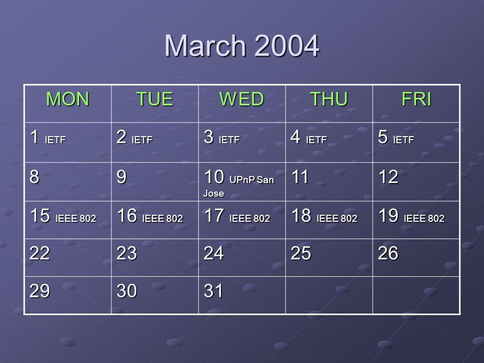 March 2004 MONTUEWEDTHUFRI 1 IETF 2 IETF 3 IETF 4 IETF 5 IETF 89 10 UPnP San Jose 1112 15 IEEE 802 16 IEEE 802 17 IEEE 802 18 IEEE 802 19 IEEE 802 2223242526 293031