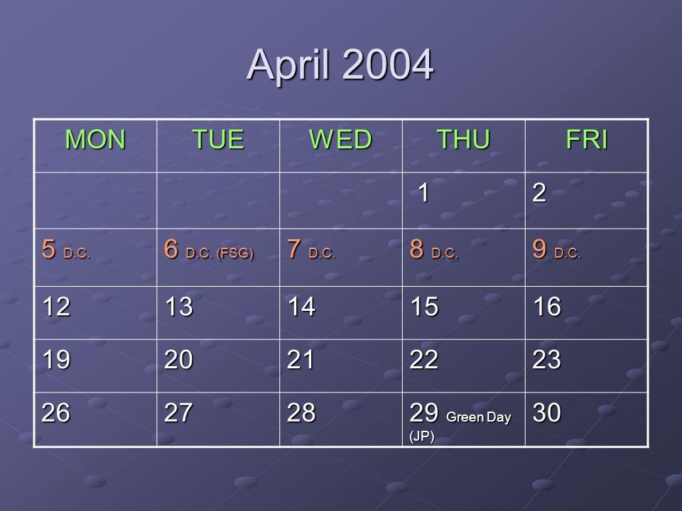April 2004 MONTUEWEDTHUFRI 12 5 D.C. 6 D.C. (FSG) 7 D.C.