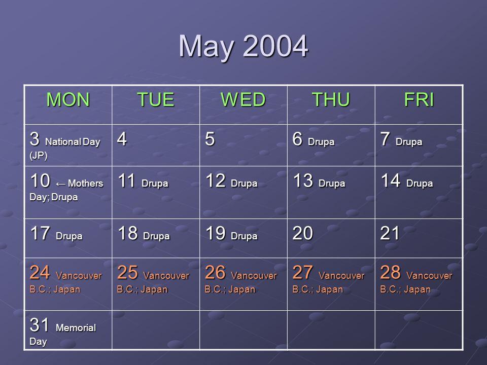 May 2004 MONTUEWEDTHUFRI 3 National Day (JP) 45 6 Drupa 7 Drupa 10 Mothers Day; Drupa 11 Drupa 12 Drupa 13 Drupa 14 Drupa 17 Drupa 18 Drupa 19 Drupa 2