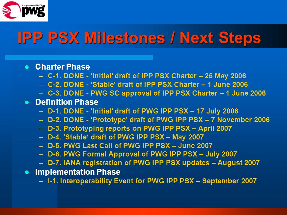 IPP PSX Milestones / Next Steps Charter Phase –C-1. DONE - 'Initial' draft of IPP PSX Charter – 25 May 2006 –C-2. DONE - 'Stable' draft of IPP PSX Cha