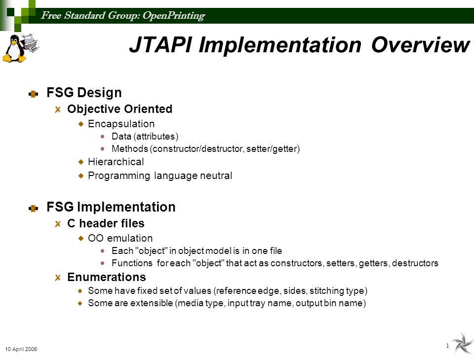Free Standard Group: OpenPrinting 2 10 April 2006 0..* Subscription 0..* SeparatorSheet 0..* ForcePage 0..* InsertSheet 0..* PageOverrides 0..* PageRange 1 0..1 11 JTAPI Object Model 1 1 JobDocumentPage JobTicketInfoJobDocument Media 0..1 1 1 111 11 ContactInfo 0..* 111 MediaFoldingHoleMakingStitchingBindingTrimming 0..1 JobDocumentPage 1 1 1 1 1 1 0..* Destination 0..* 1 1 Enumerations for attribute values