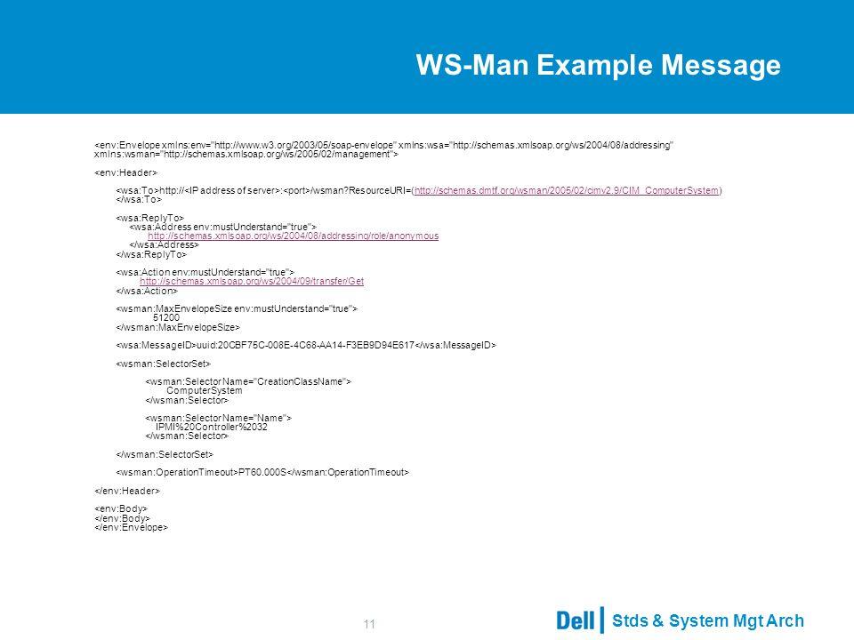 Stds & System Mgt Arch 11 WS-Man Example Message http:// : /wsman ResourceURI=(http://schemas.dmtf.org/wsman/2005/02/cimv2.9/CIM_ComputerSystem) http://schemas.xmlsoap.org/ws/2004/08/addressing/role/anonymous http://schemas.xmlsoap.org/ws/2004/09/transfer/Get 51200 uuid:20CBF75C-008E-4C68-AA14-F3EB9D94E617 ComputerSystem IPMI%20Controller%2032 PT60.000S http://schemas.dmtf.org/wsman/2005/02/cimv2.9/CIM_ComputerSystemhttp://schemas.xmlsoap.org/ws/2004/08/addressing/role/anonymoushttp://schemas.xmlsoap.org/ws/2004/09/transfer/Get