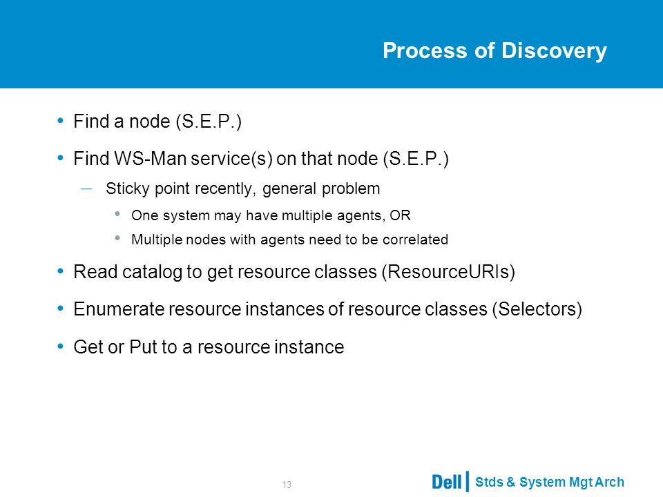 Stds & System Mgt Arch 13 Process of Discovery Find a node (S.E.P.) Find WS-Man service(s) on that node (S.E.P.) – Sticky point recently, general problem One system may have multiple agents, OR Multiple nodes with agents need to be correlated Read catalog to get resource classes (ResourceURIs) Enumerate resource instances of resource classes (Selectors) Get or Put to a resource instance