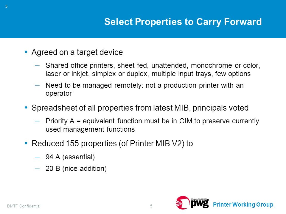 Printer Working Group DMTF Confidential5 5 Select Properties to Carry Forward Agreed on a target device – Shared office printers, sheet-fed, unattended, monochrome or color, laser or inkjet, simplex or duplex, multiple input trays, few options – Need to be managed remotely: not a production printer with an operator Spreadsheet of all properties from latest MIB, principals voted – Priority A = equivalent function must be in CIM to preserve currently used management functions Reduced 155 properties (of Printer MIB V2) to – 94 A (essential) – 20 B (nice addition)