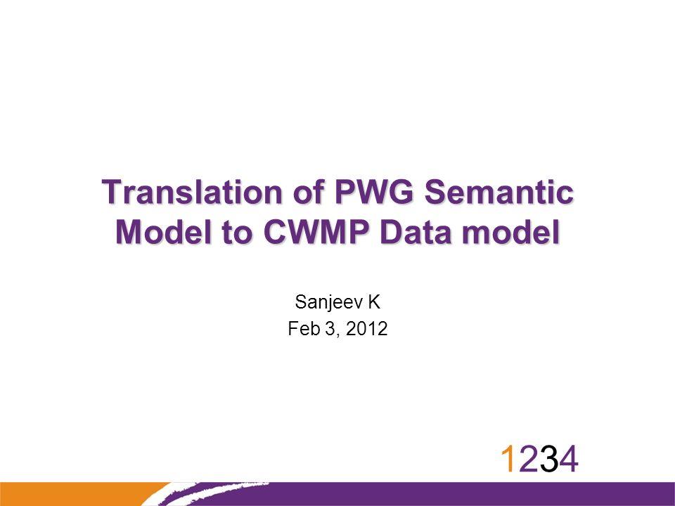12341234 Translation of PWG Semantic Model to CWMP Data model Sanjeev K Feb 3, 2012