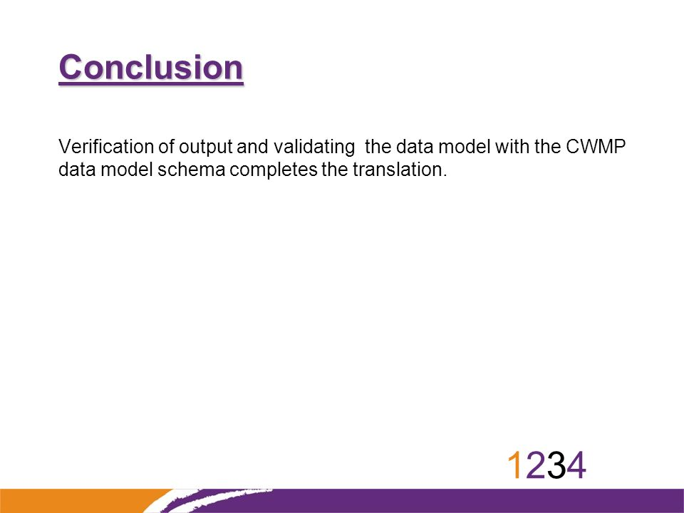 12341234 Conclusion Verification of output and validating the data model with the CWMP data model schema completes the translation.