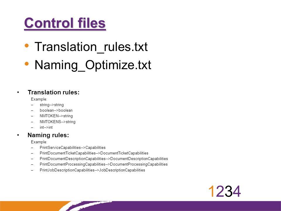 12341234 Control files Translation_rules.txt Naming_Optimize.txt Translation rules: Example: –string-->string –boolean-->boolean –NMTOKEN-->string –NM