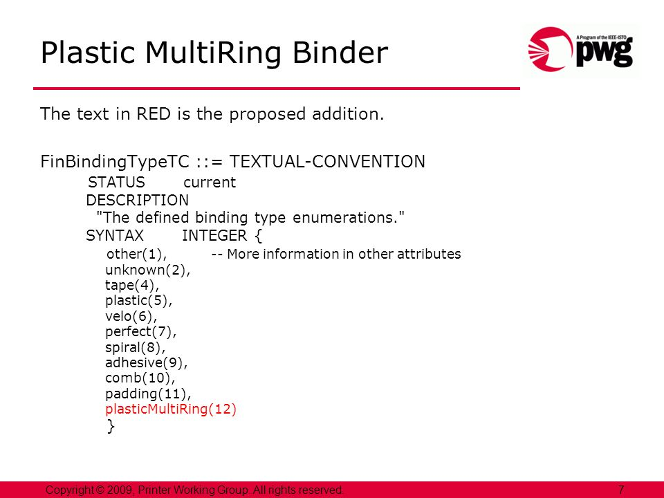 Plastic MultiRing Binder The text in RED is the proposed addition.