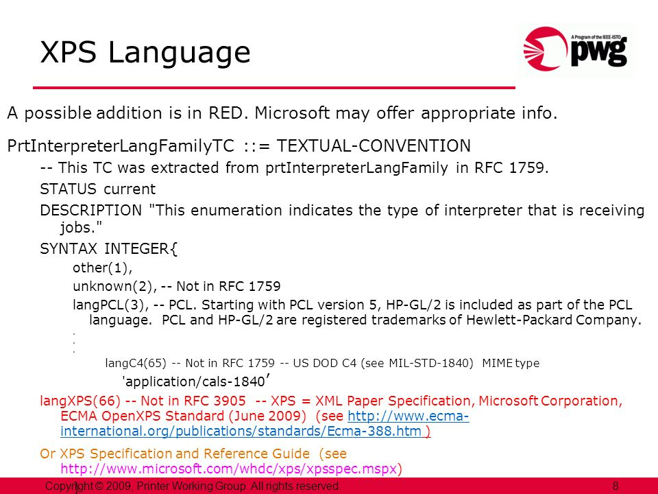 XPS Language A possible addition is in RED. Microsoft may offer appropriate info.
