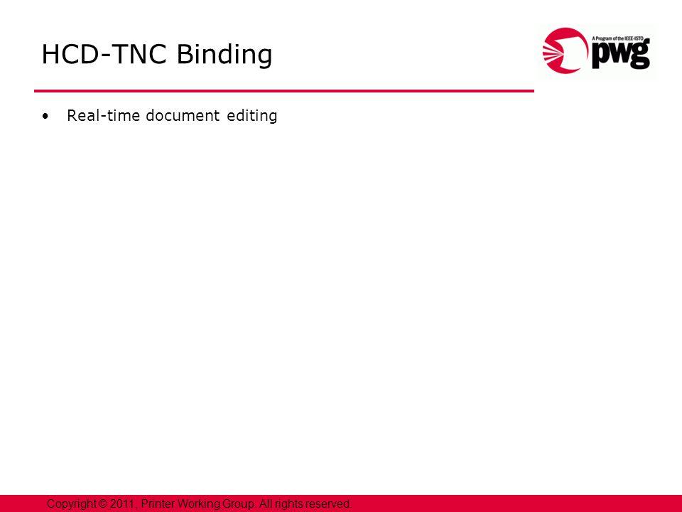 HCD-TNC Binding Real-time document editing Copyright © 2011, Printer Working Group.