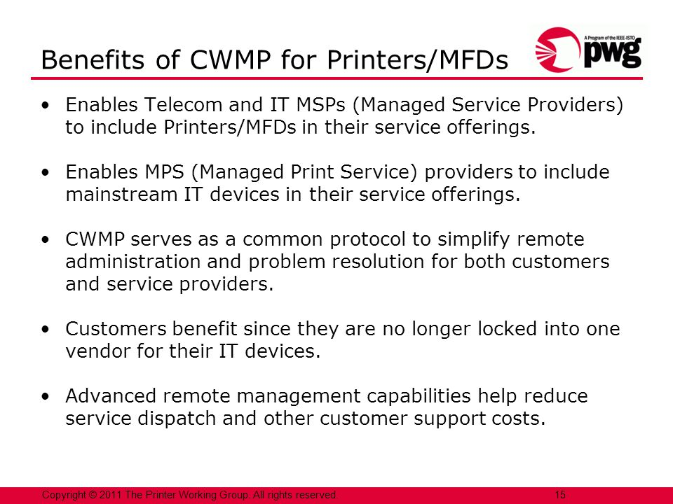 Enables Telecom and IT MSPs (Managed Service Providers) to include Printers/MFDs in their service offerings. Enables MPS (Managed Print Service) provi