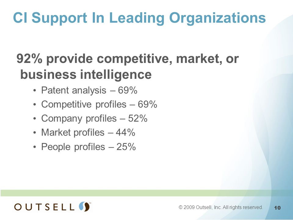 10 © 2009 Outsell, Inc. All rights reserved. CI Support In Leading Organizations 92% provide competitive, market, or business intelligence Patent anal