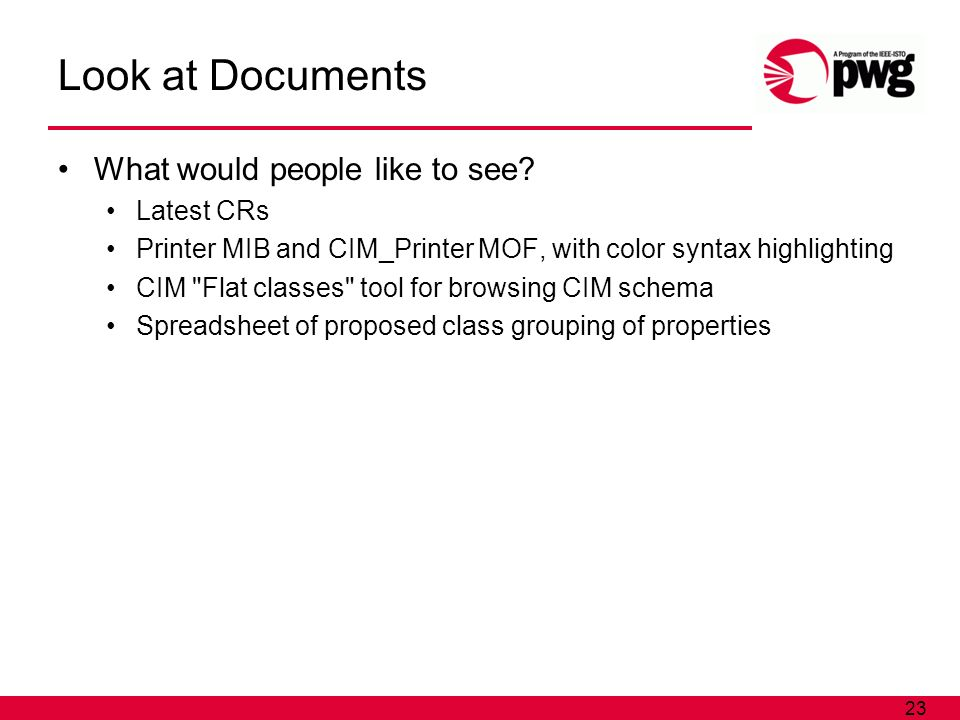 23 Look at Documents What would people like to see.