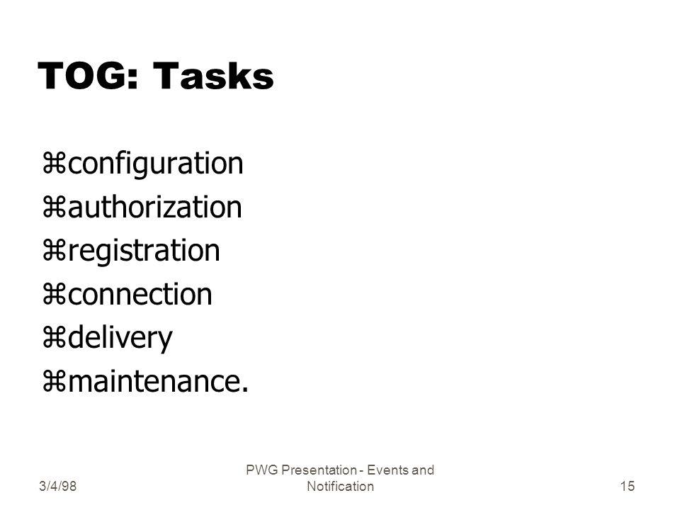 3/4/98 PWG Presentation - Events and Notification15 TOG: Tasks zconfiguration zauthorization zregistration zconnection zdelivery zmaintenance.