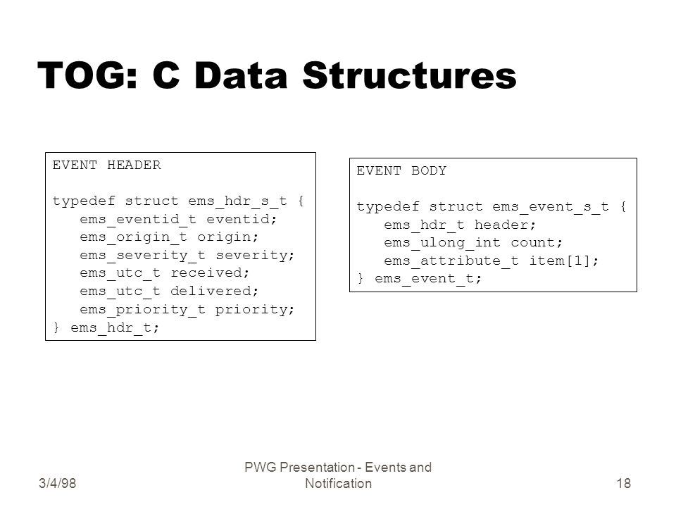 3/4/98 PWG Presentation - Events and Notification18 TOG: C Data Structures EVENT HEADER typedef struct ems_hdr_s_t { ems_eventid_t eventid; ems_origin_t origin; ems_severity_t severity; ems_utc_t received; ems_utc_t delivered; ems_priority_t priority; } ems_hdr_t; EVENT BODY typedef struct ems_event_s_t { ems_hdr_t header; ems_ulong_int count; ems_attribute_t item[1]; } ems_event_t;