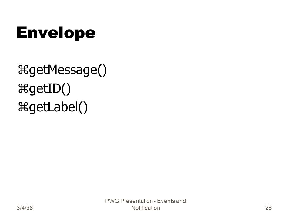 3/4/98 PWG Presentation - Events and Notification26 Envelope zgetMessage() zgetID() zgetLabel()