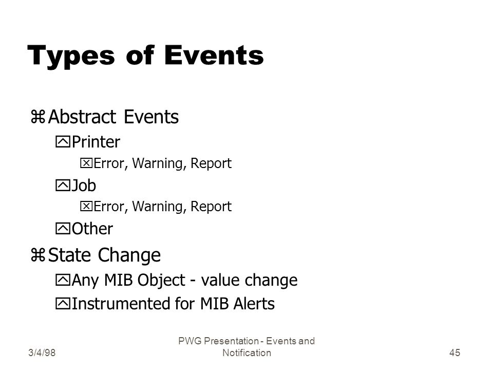 3/4/98 PWG Presentation - Events and Notification45 Types of Events zAbstract Events yPrinter xError, Warning, Report yJob xError, Warning, Report yOther zState Change yAny MIB Object - value change yInstrumented for MIB Alerts
