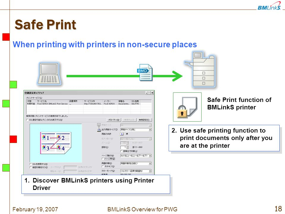 February 19, 2007 18 BMLinkS Overview for PWG Safe Print 2.Use safe printing function to print documents only after you are at the printer Safe Print function of BMLinkS printer 1.Discover BMLinkS printers using Printer Driver When printing with printers in non-secure places