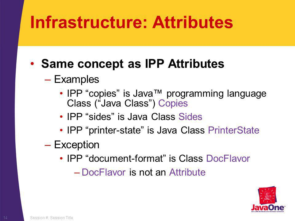 Session #, Session Title14 Infrastructure: Attributes Same concept as IPP Attributes –Examples IPP copies is Java programming language Class (Java Class) Copies IPP sides is Java Class Sides IPP printer-state is Java Class PrinterState –Exception IPP document-format is Class DocFlavor –DocFlavor is not an Attribute