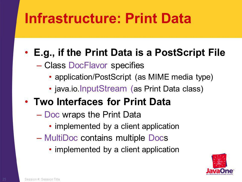 Session #, Session Title25 Infrastructure: Print Data E.g., if the Print Data is a PostScript File –Class DocFlavor specifies application/PostScript (as MIME media type) java.io.