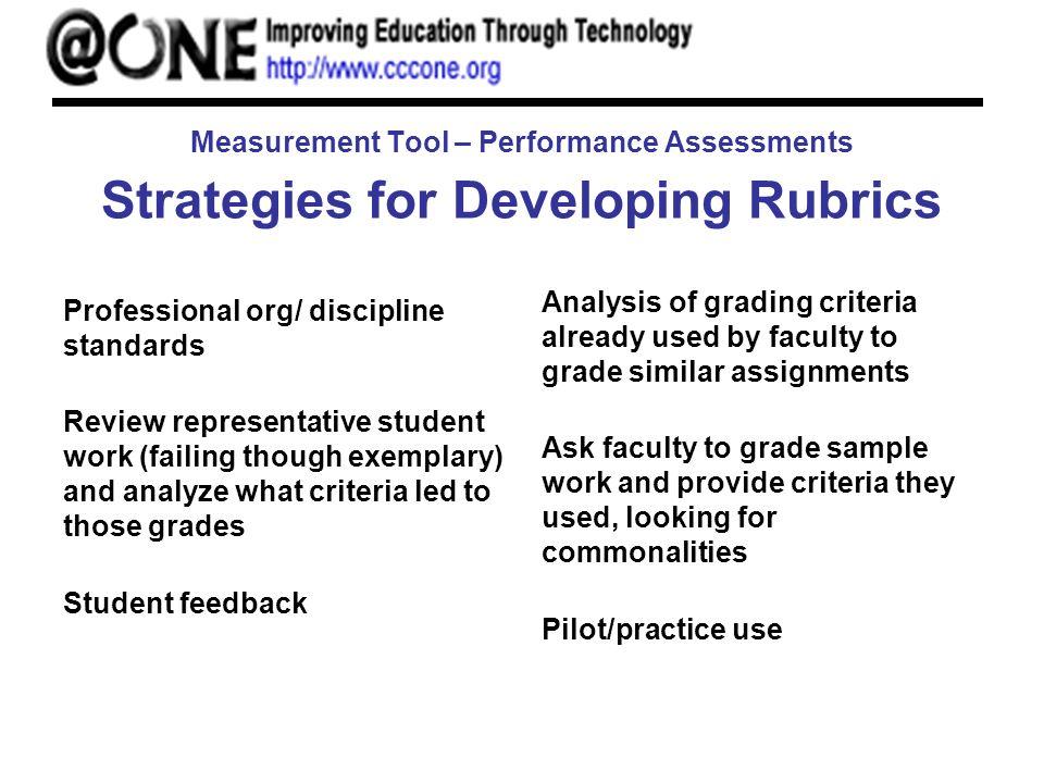 Measurement Tool – Performance Assessments Strategies for Developing Rubrics Professional org/ discipline standards Review representative student work