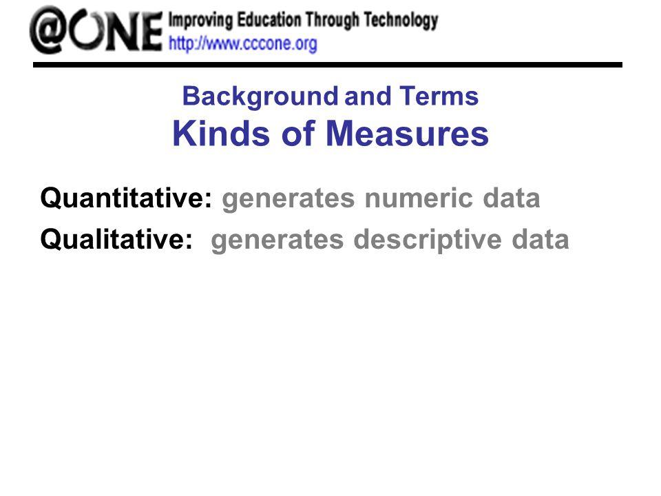 Background and Terms Kinds of Measures Quantitative: generates numeric data Qualitative: generates descriptive data