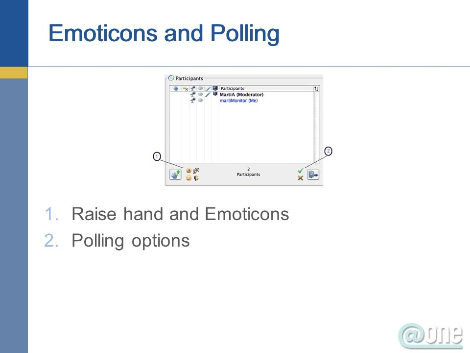Emoticons and Polling 1.Raise hand and Emoticons 2.Polling options