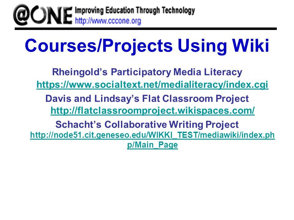 Courses/Projects Using Wiki Rheingolds Participatory Media Literacy https://www.socialtext.net/medialiteracy/index.cgi https://www.socialtext.net/medialiteracy/index.cgi Davis and Lindsays Flat Classroom Project http://flatclassroomproject.wikispaces.com/ http://flatclassroomproject.wikispaces.com/ Schachts Collaborative Writing Project http://node51.cit.geneseo.edu/WIKKI_TEST/mediawiki/index.ph p/Main_Page http://node51.cit.geneseo.edu/WIKKI_TEST/mediawiki/index.ph p/Main_Page